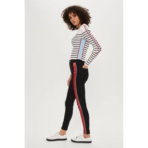 Topshop Black Piping Striped Joni Jeans